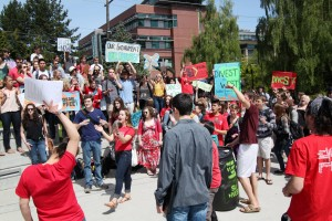 SSA rally at Library