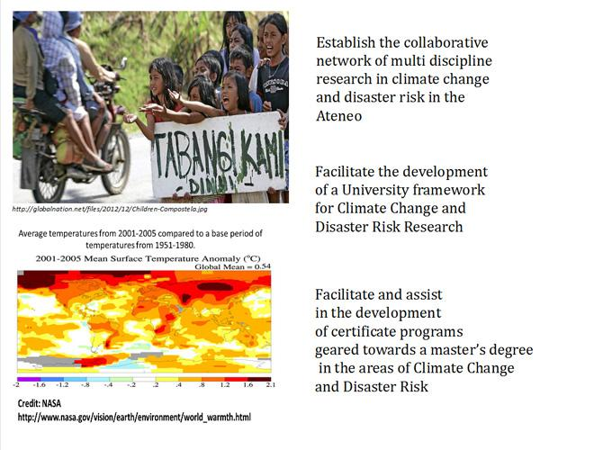 The Climate Change and Disaster Risk Program Aims