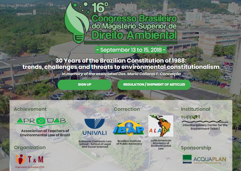 NIMA PUC-Rio supports the 16th Brazilian Congress of the Superior Magisterium of Environmental Law
