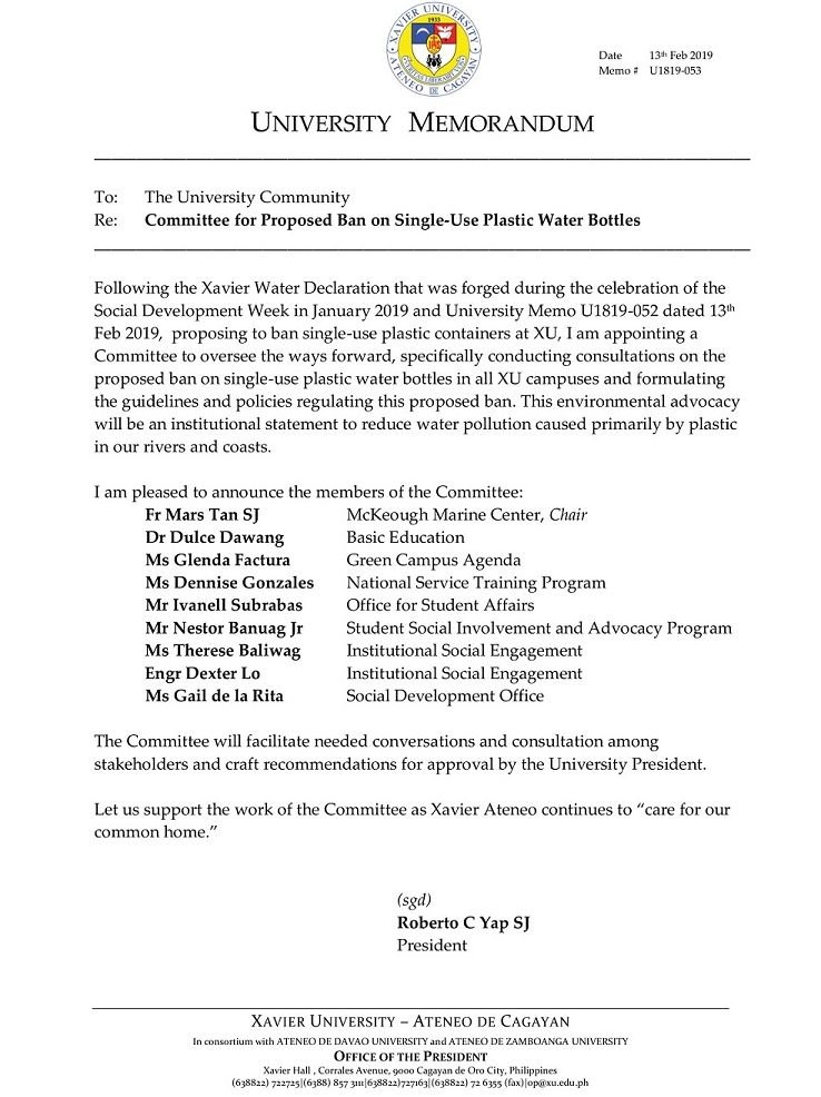 Committee for Proposed Ban on Single-Use Plastic Water Bottles – Xavier University: Ateneo de Caagayan
